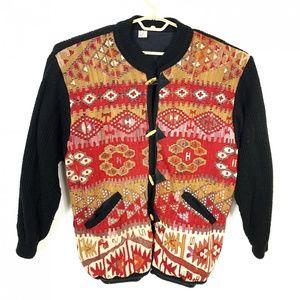 Turkish Geometric Wool Heavy knit Sweater Jacket